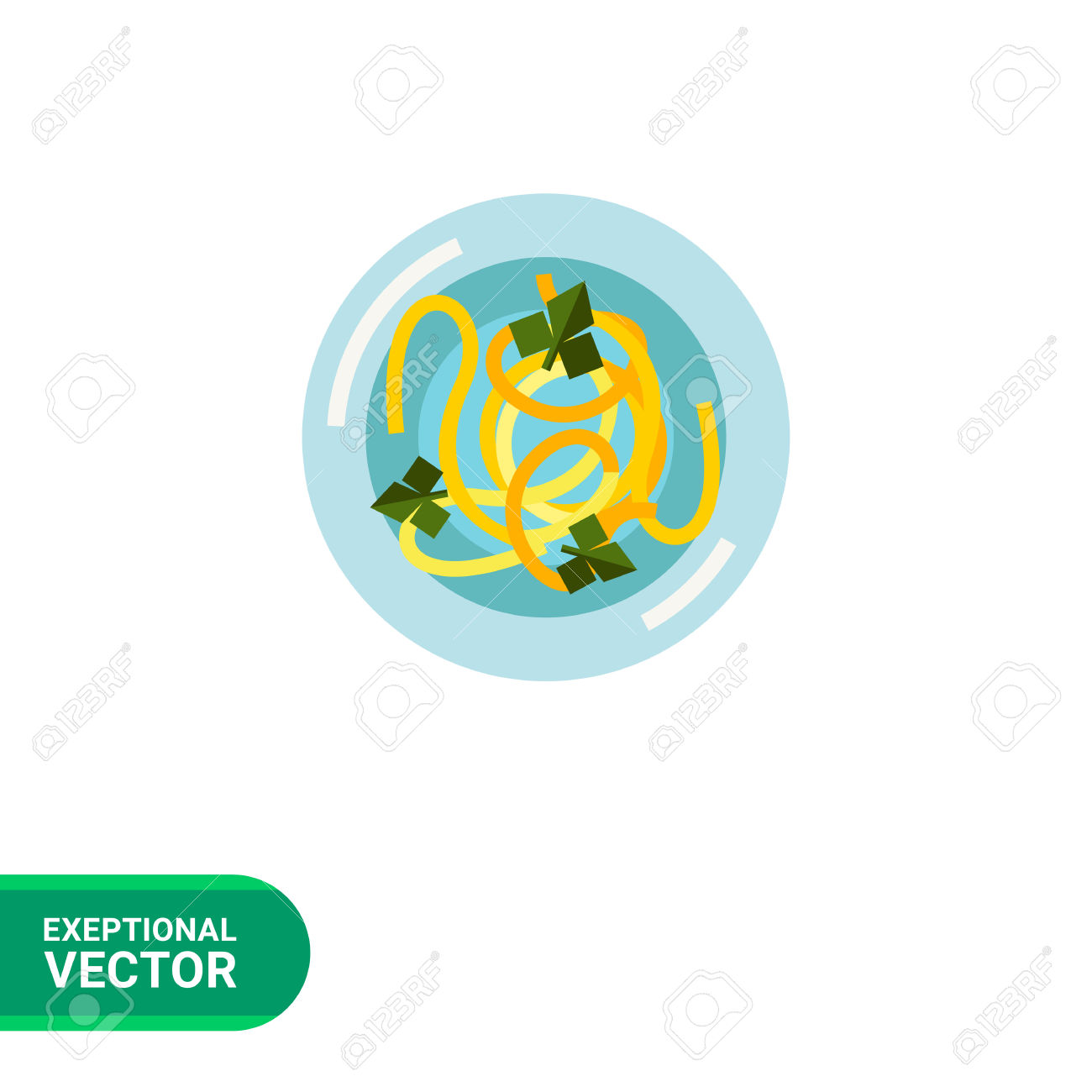 Multicolored Vector Icon Of Soup With Noodles And Greens, Top.