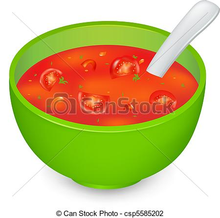 Vector Illustration of Tomato Soup In Green Plate, Isolated On.