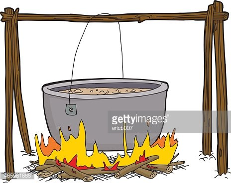 Kettle of Soup in Campfire Clipart Image.