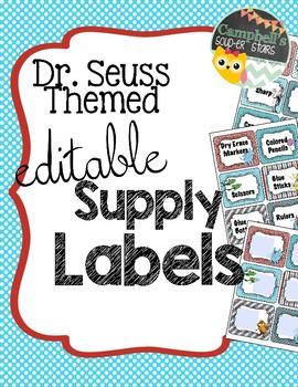 Dr Seuss Theme {School Supply Labels}.