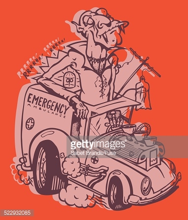 Vampire Driving A Souped Up Ambulance Stock Illustration.