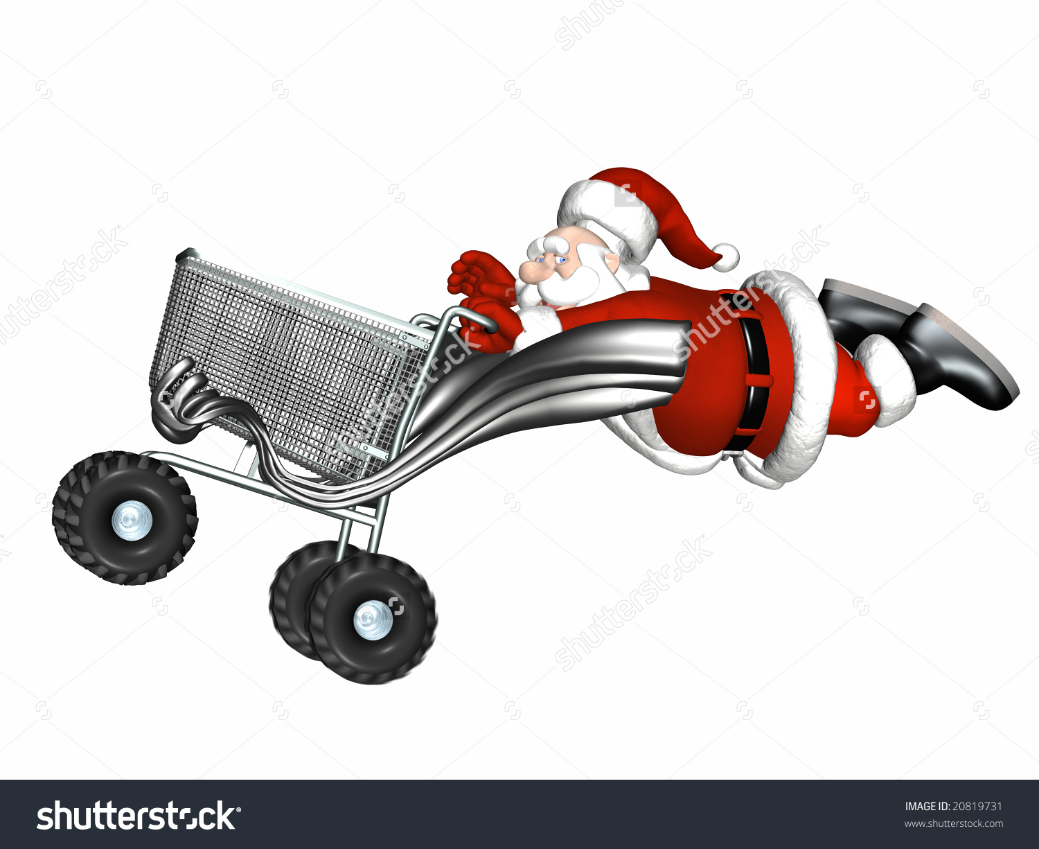 Santa Flying Behind Souped Shopping Cart Stock Illustration.