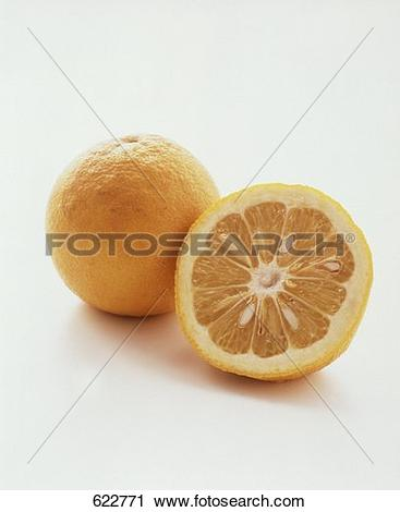 Stock Photography of A Sour Orange; One Cut in Half 622771.