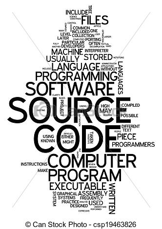 Clip Art of Word Cloud Source Code.