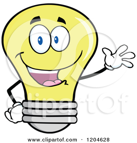Cartoon Of A Happy Black And White Light Bulb Mascot Holding