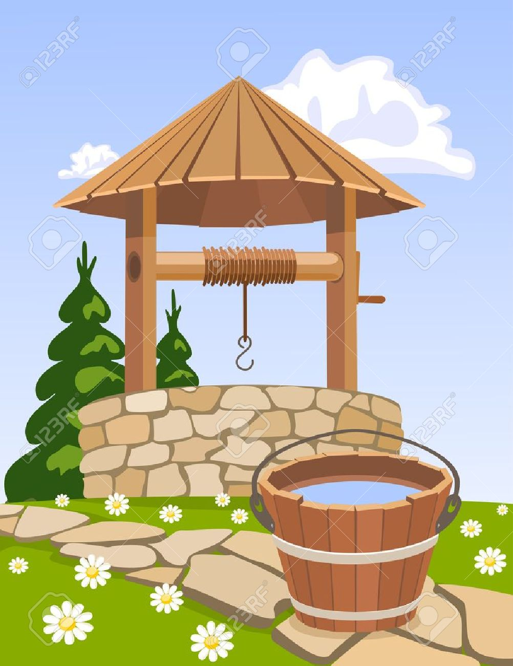 Old Wooden Well And Bucket Of Water Royalty Free Cliparts, Vectors.