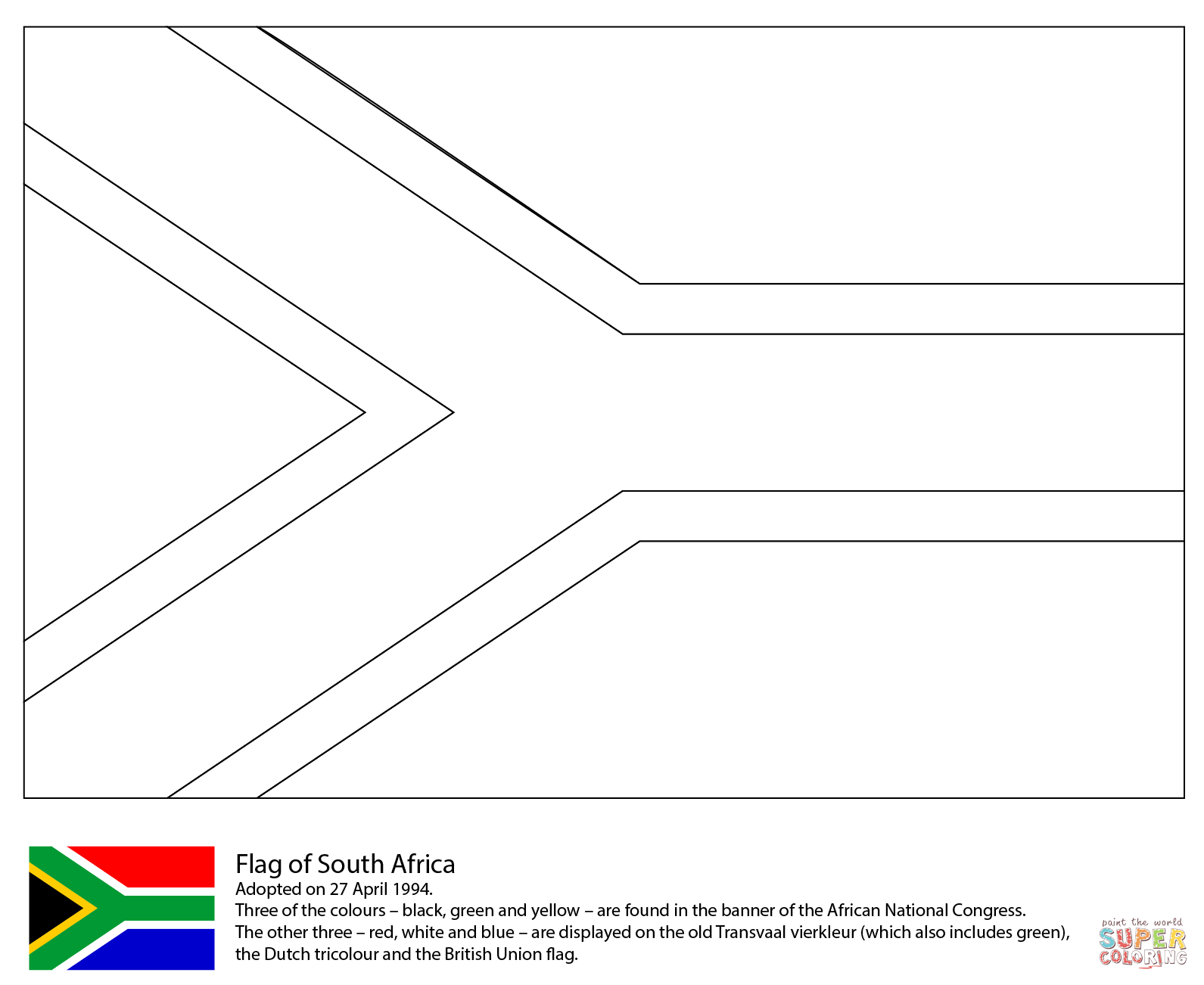 Flag of South Africa coloring page.