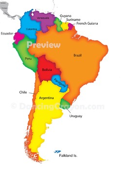 Maps of South America (Continent): Clip Art Map Set.