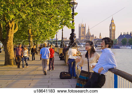 Stock Photo of England, London, South Bank, A couple relaxing.