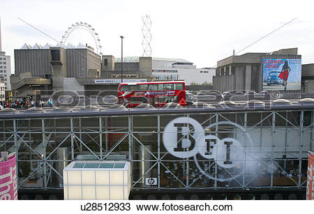 Stock Photo of England, London, South Bank. A London bus drives.