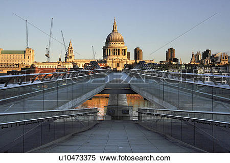 Stock Image of England, London, South Bank, St Paul's Cathedral.