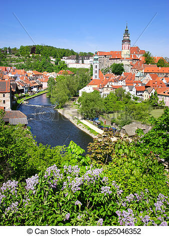 Stock Images of medieval town Cesky Krumlov (UNESCO), South.