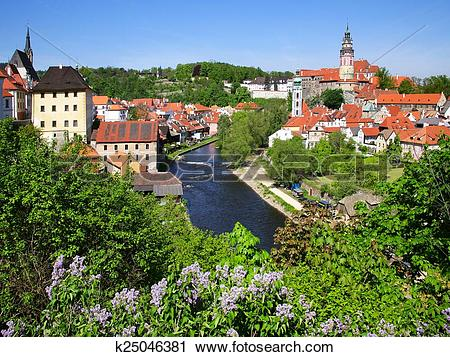 Stock Photography of medieval town Cesky Krumlov (UNESCO), South.