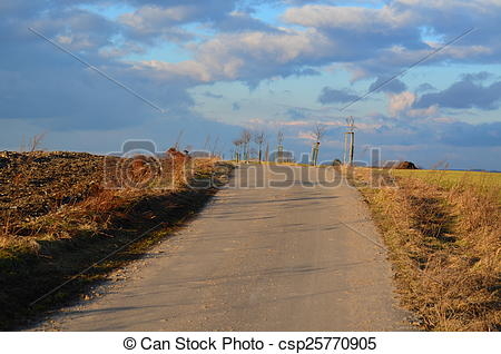 Stock Photography of evening view of the countryside in South.