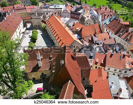 Stock Photo of medieval town Cesky Krumlov (UNESCO), South Bohemia.