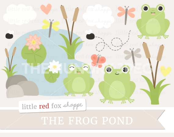 Frog Pond Clipart by Little Red Fox Shoppe.