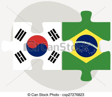 Vector Illustration of South Korea and Brazil Flags in puzzle.