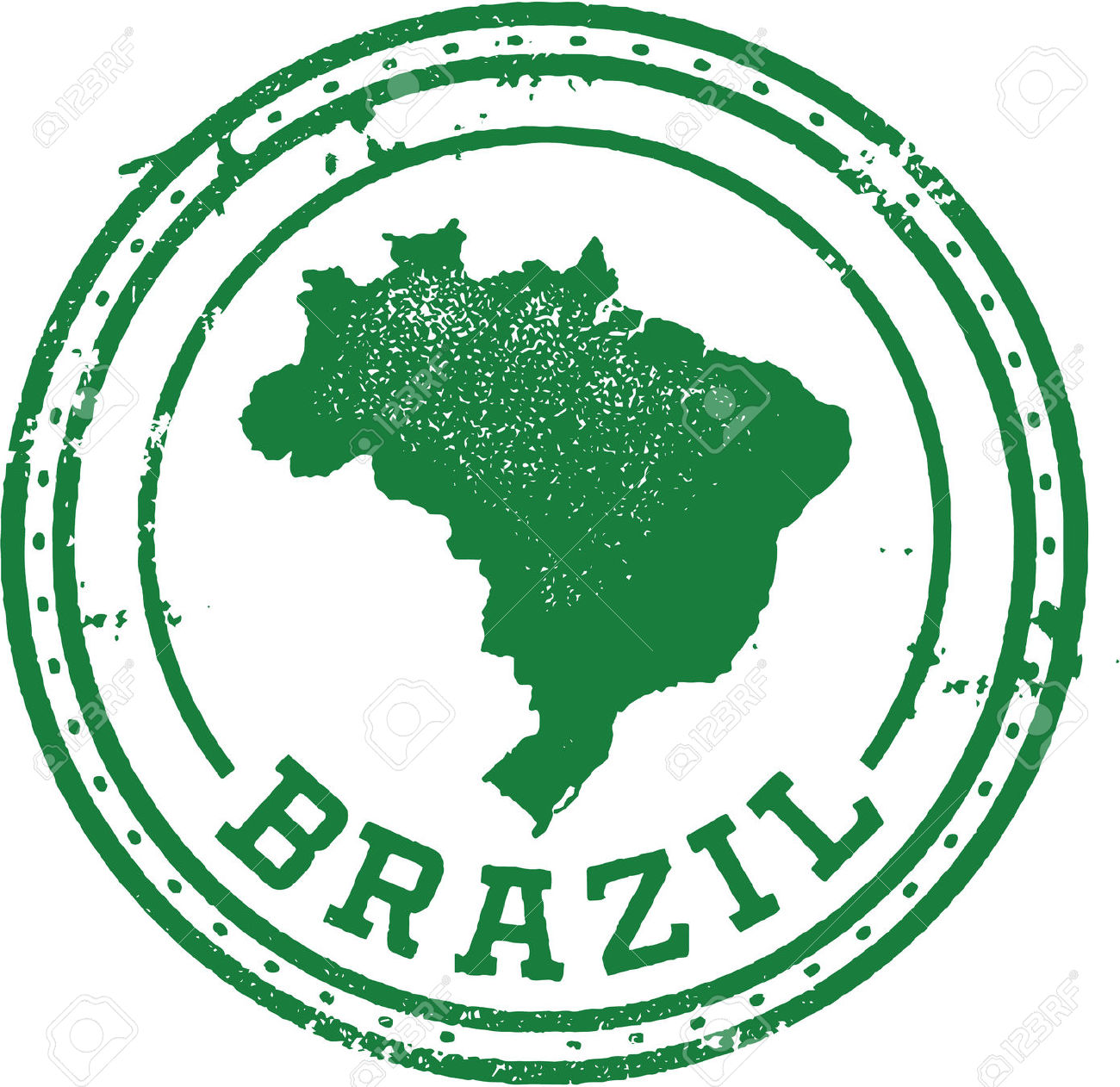 Brazil South American Travel Stamp Royalty Free Cliparts, Vectors.