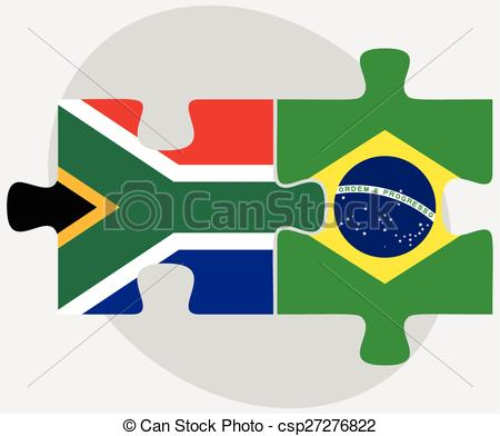 Vector Illustration of South Africa and Brazil Flags in puzzle.