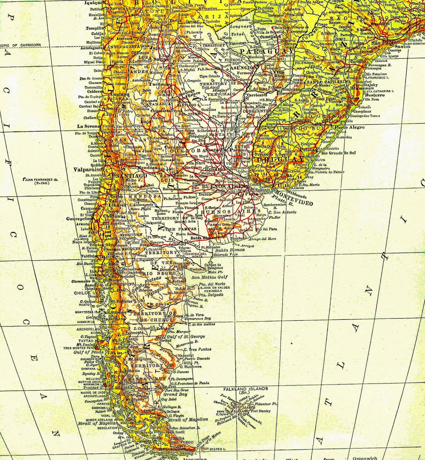 Antique Images: Free Map Clip Art: Vintage Map of Southern Brazil.