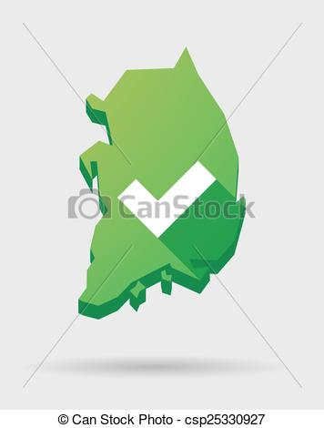 Vector Illustration of South Korea map icon with a check mark.