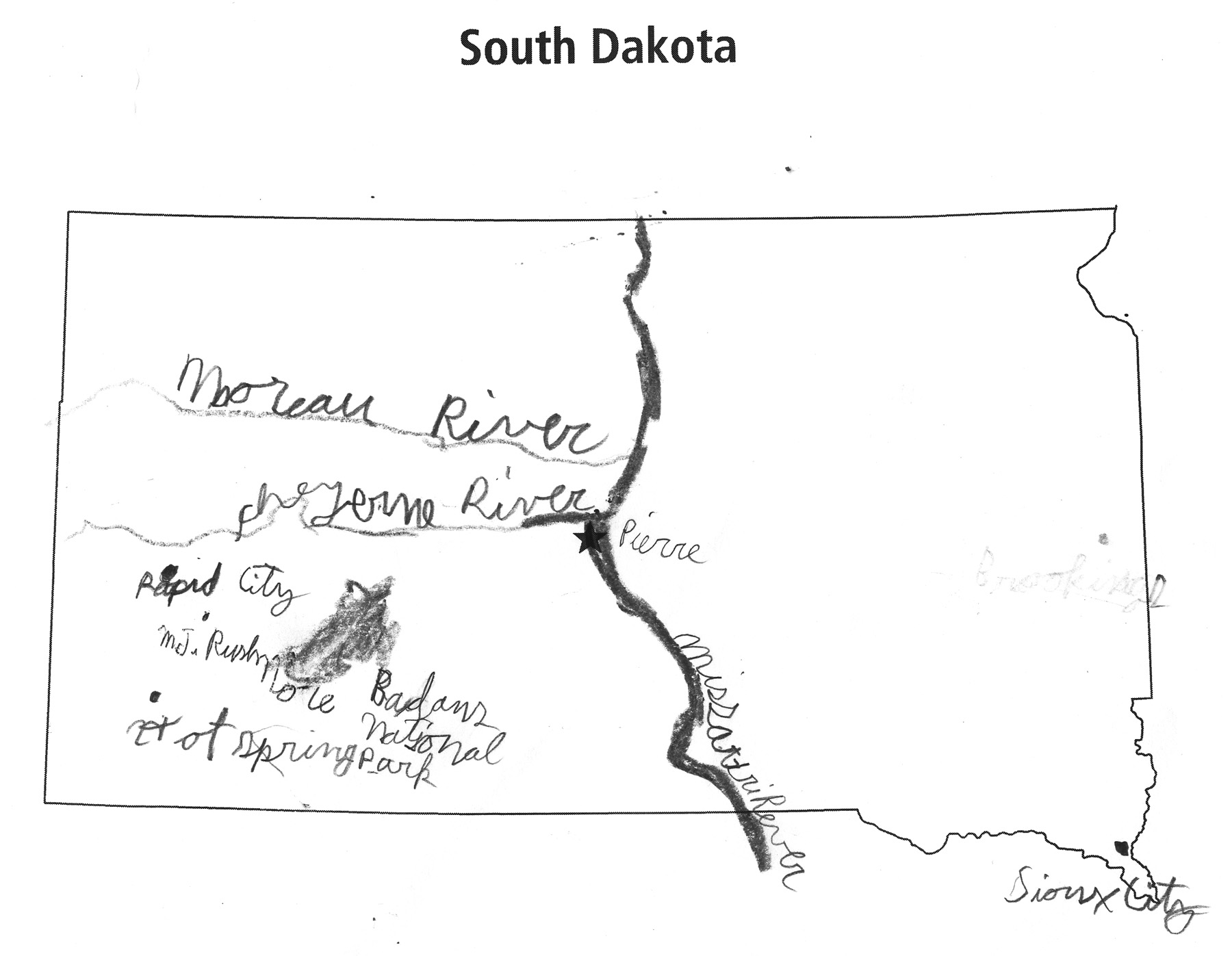 Outline Map Of South Dakota With Vector Map South Dakota Political.