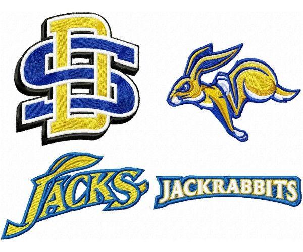 South Dakota State Jackrabbits logo machine embroidery.