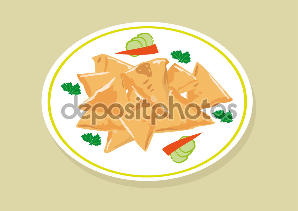 Samosa food is a popular fried dish in South East Asia, India.