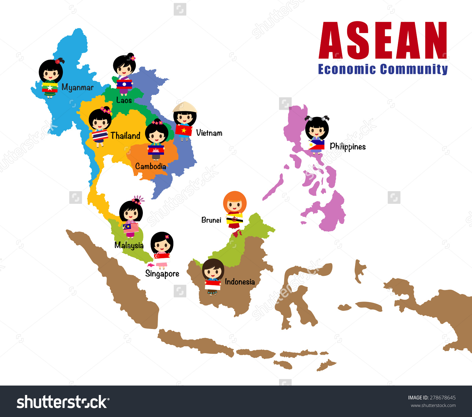 Map Asean Asia South East Asia Stock Vector 278678645.