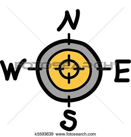 Clip Art of Compass with north south east west k5593639.