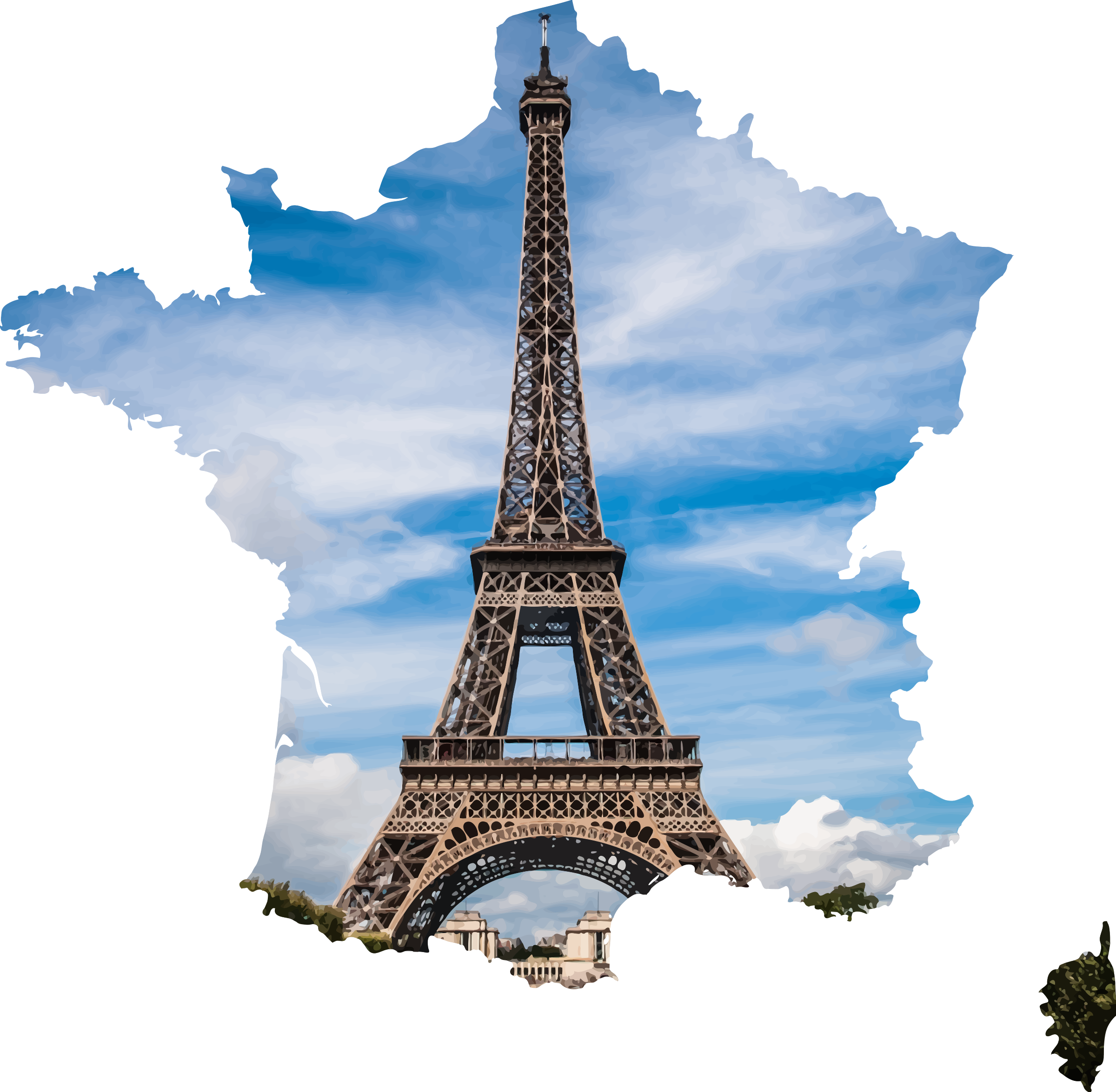 Eiffel tower in the Shape of France Vector Clipart.