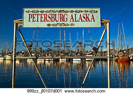 Stock Photography of Petersburg sign at South Harbor, Petersburg.
