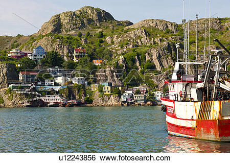 Stock Images of Fishing boats docked on south side of St. John's.