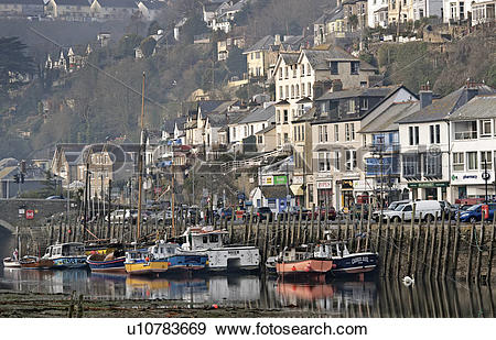 Stock Photograph of England, Cornwall, Looe. Fishing boats in the.