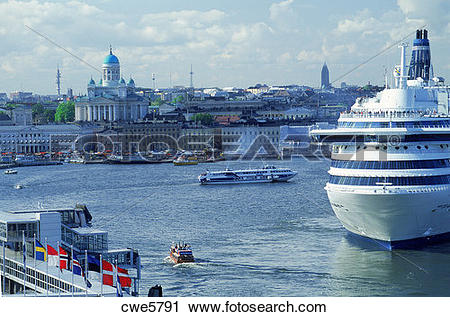 Stock Photography of Silja Line passenger ship leaving South.