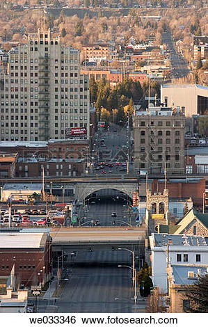 Stock Images of Spokane, Washington, USA as seen from the South.