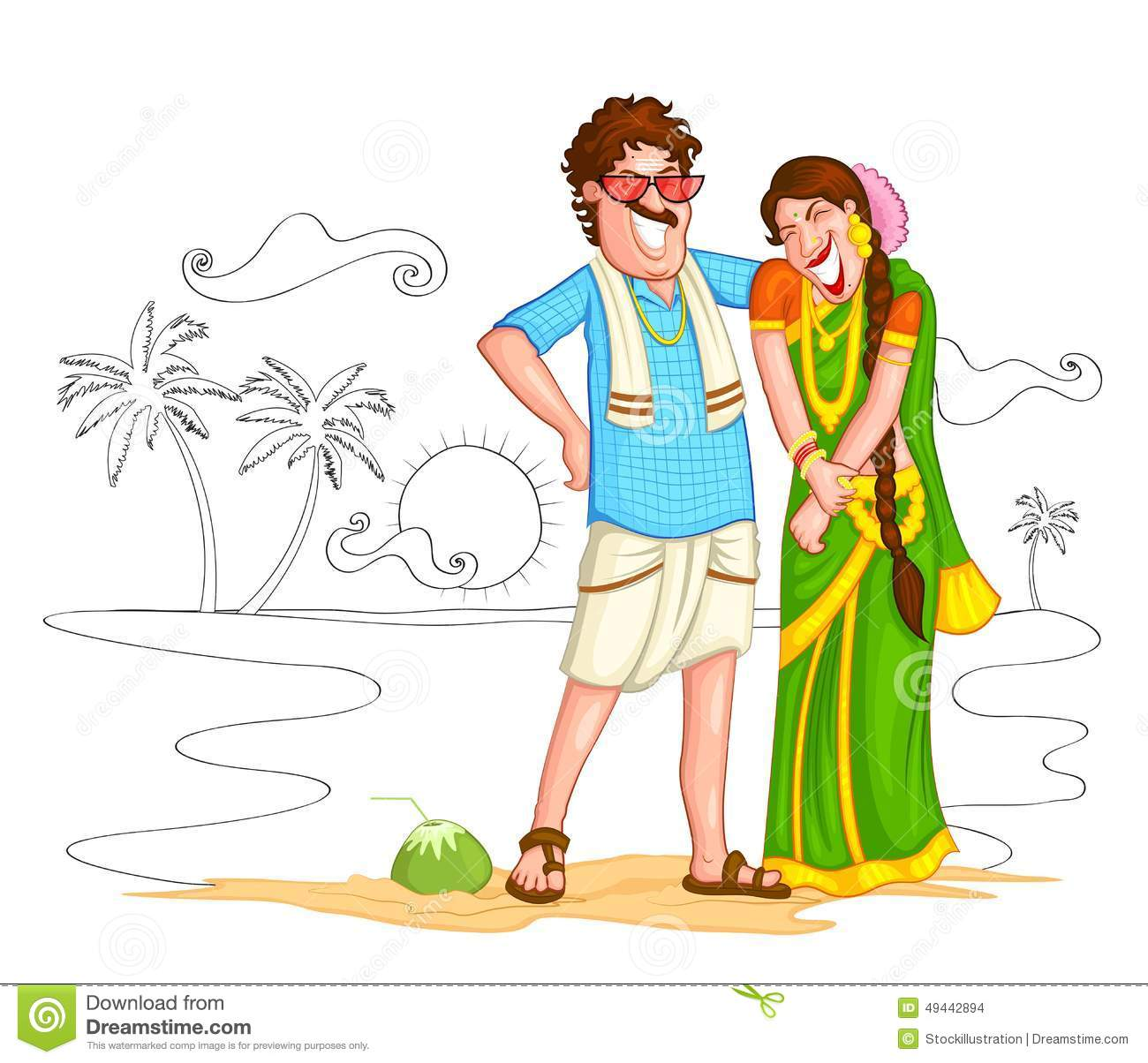 South indian wedding clipart.