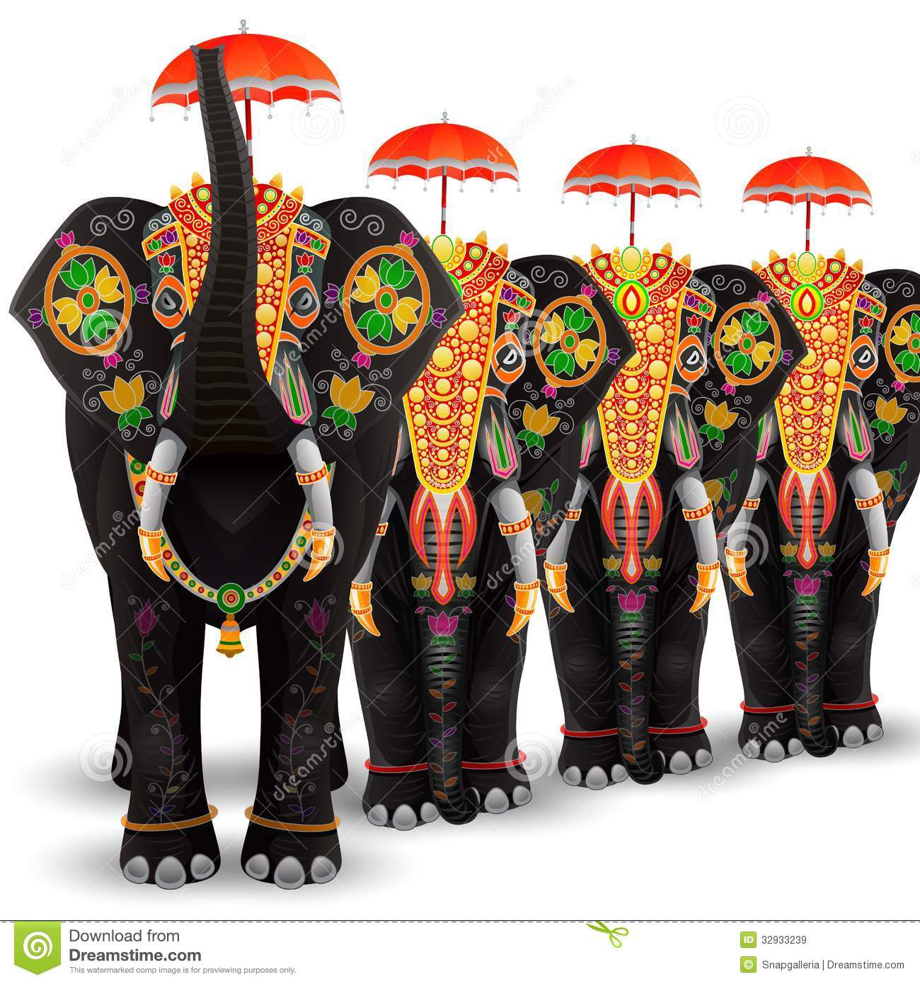 Decorated Elephant Of South India Royalty Free Stock Images.