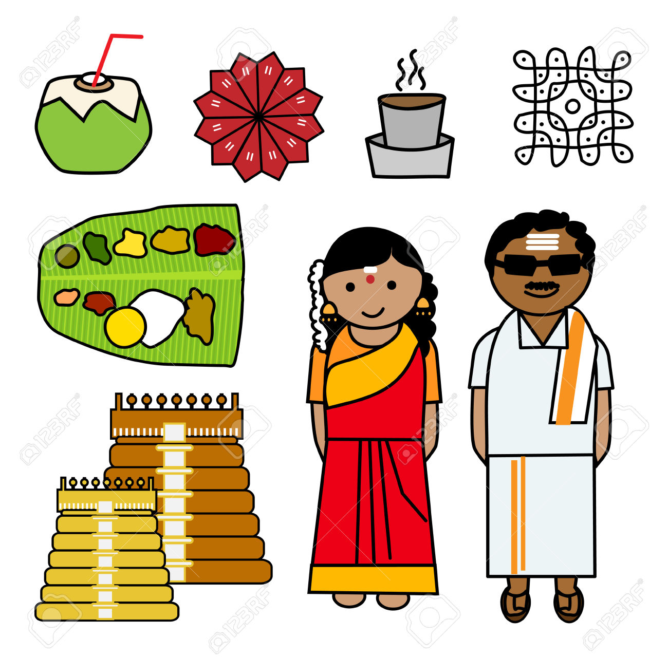 South indian clipart.