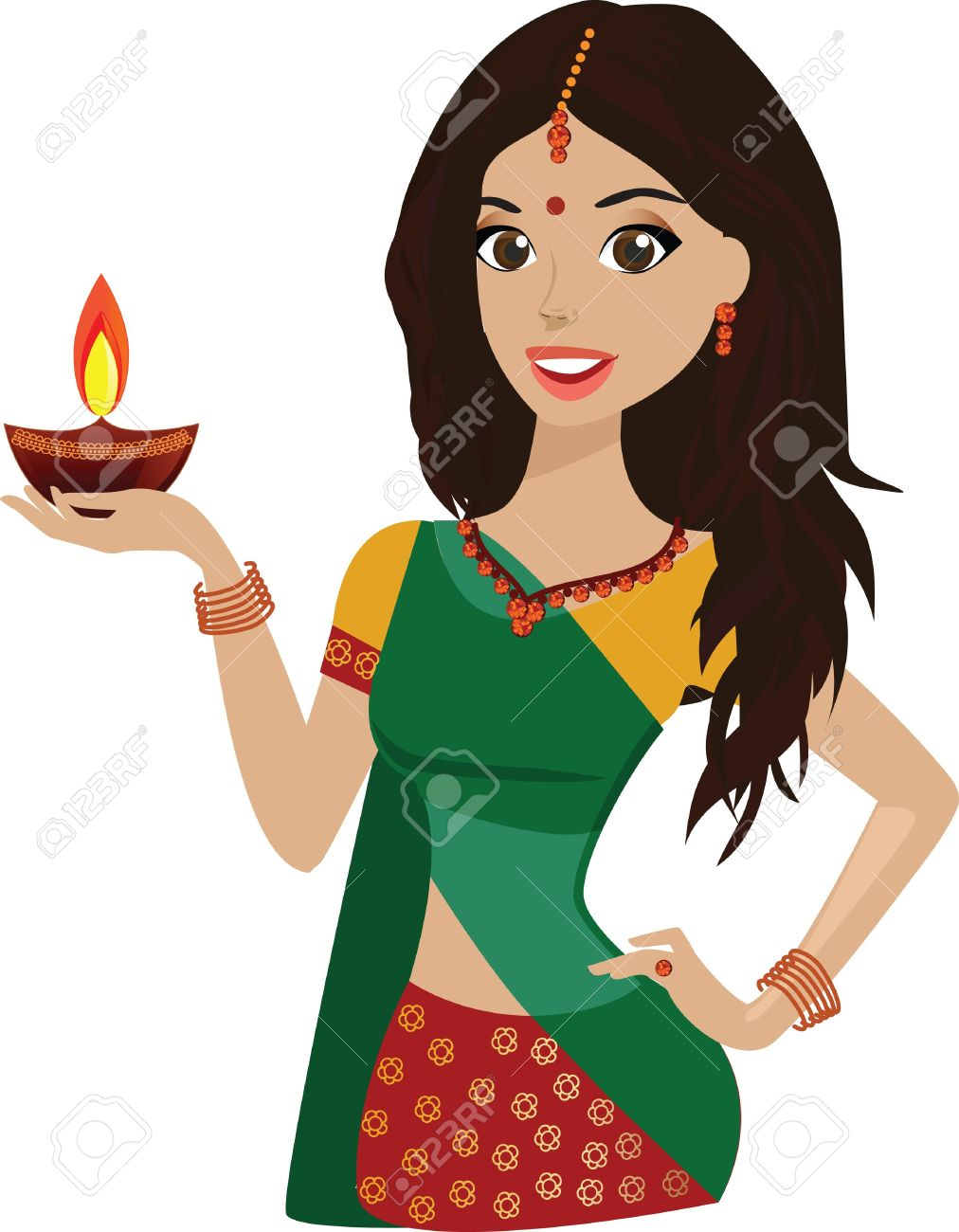 South indian beauty girl clipart.