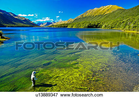 Picture of Man fly fishing, Mavora Lake, South Island, New Zealand.