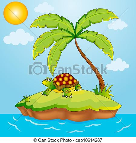 Vector of south island with palm and terrapin.