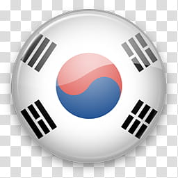 Asia Win, round South Korea flag art transparent background.
