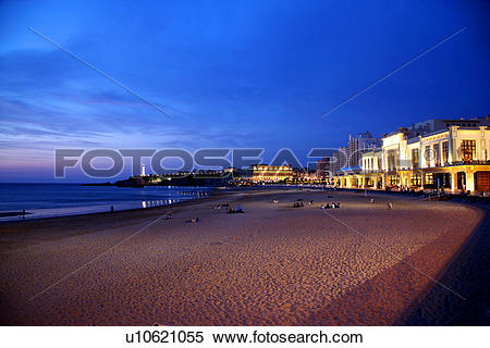 Stock Image of Beach in Biarritz, South France, night view.