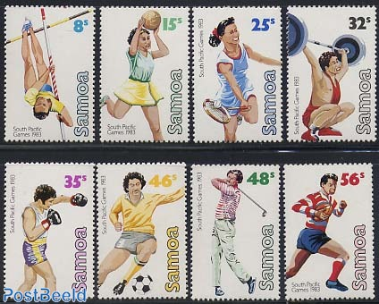 Stamp 1983, Samoa South Pacific games 8v, 1983.