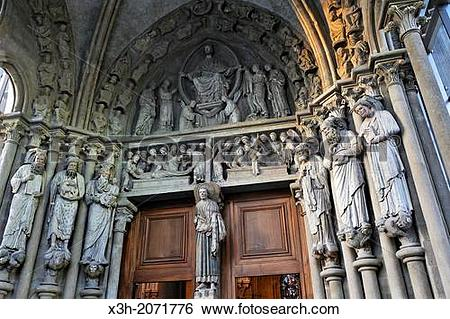 Stock Images of South portal of the Cathedral of Notre Dame.