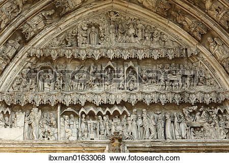 "Pictures of ""Tympanum on the south portal, cathedral, Augsburg."