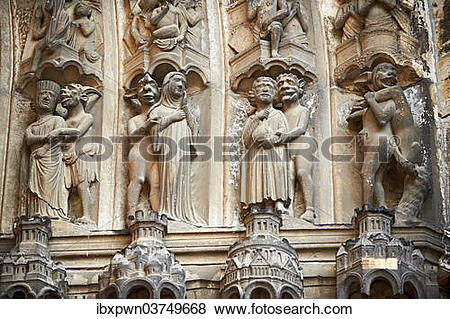 "Pictures of ""Medieval Gothic sculptures of the south portal of the."
