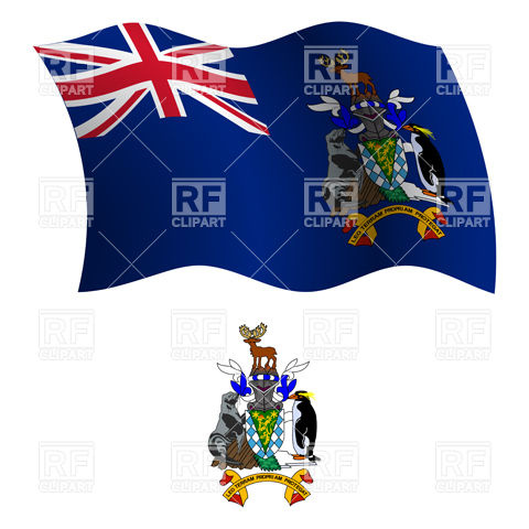 South Georgia and the South Sandwich Islands flag and coat of arms.