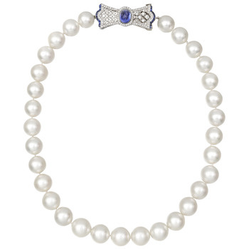 Pearl Necklace With Sapphire Diamond Clasp South Sea Pearl.